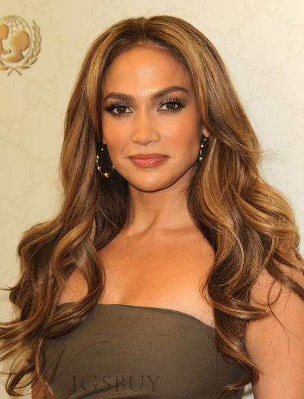 Jennifer Lopez Hairstyle Elegant Deluxe Long Wavy Lace Wig 100% Real Human Hair 22 Inches