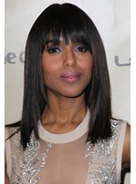 Unique Classical Kerry Washington Hairstyle Attractive Medium Straight 100% Real Human Hair Wig 14 Inches