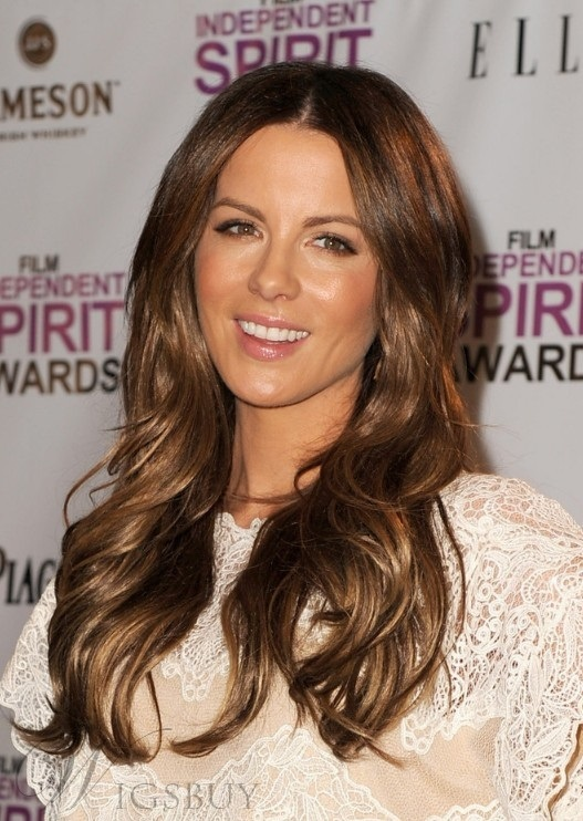 Kate Beckinsale Long Wavy Lace Front Wigs Human Hair 18 Inches