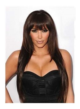 Hot Sale Kim Kardashian Hairstyle Unique Long Straight Wig 100% Human Hair 24 Inches