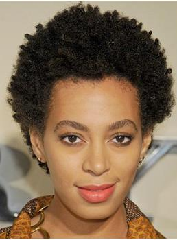 Solange Knowles Classic Afro Hairstyle Short Kinky Curly Hand Made Full Lace Wig 100% Real Human Hair