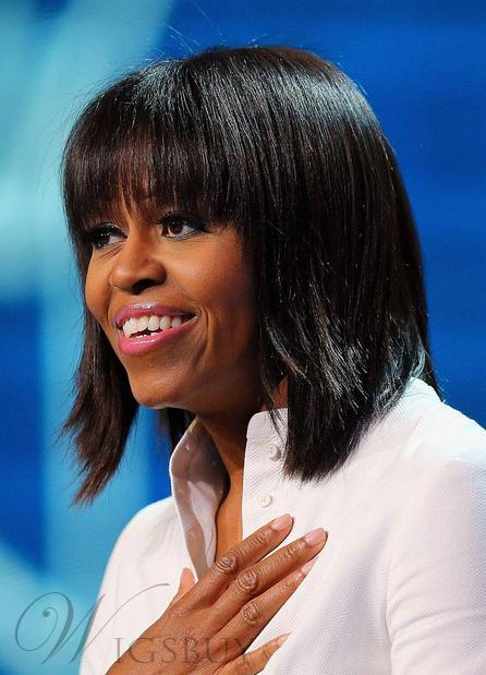 New Arrival Natural Michelle Obama Hairstyle Short Straight Wig with Bang 100% Human Hair 10 Inches
