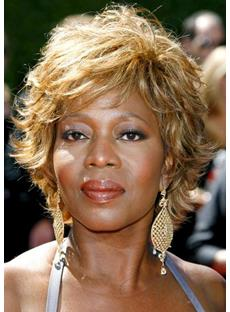 Alfre Woodard Celebrity Hairstyle Short Wavy Wig 100% Human Hair Super Comfortable