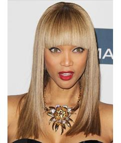 Latest Trend Amazing Custom Tyra Banks Hairstyle Long Straight Wig 100% Human Hair 16 Inches