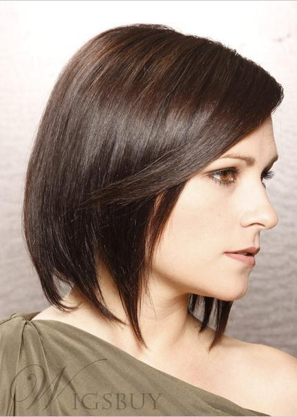 New Arrival Classic Bob Layered Hairstyle Medium Straight Full Lace Wig 100% Human Hair 10 Inches