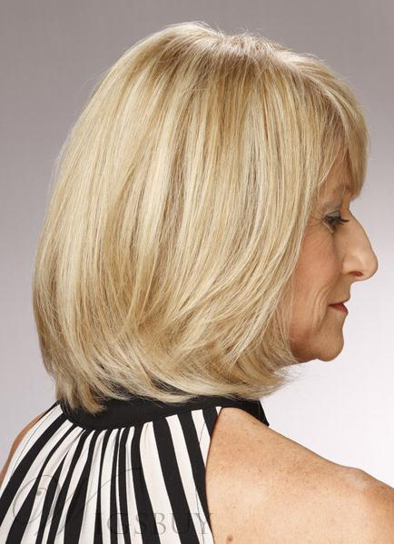 Soft Formal Shoulder Length Layered Straight Wig 100% Human Hair 10 Inches
