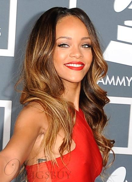 New Arrival Rihanna Hairstyle Long Wavy Lace Wig 100% Human Hair 24 Inches