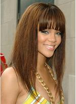 Rihanna Long Straight Wigs with Bang 18 Inches Human Hair