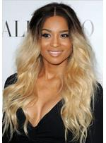 New Fashion Ombre Hairstyle Ciara Long Loose Wavy Full Lace Wig 100% Human Hair 22 Inches