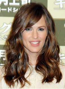 Smiling Jennifer Garner Hairstyle Long Wavy 100% Indian Human Hair Full Lace Wig 16 Inches