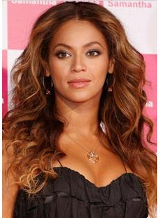 Stylish Beyonce Knowles Hairstyle Long Curly Top Quality Full Lace Wig 100% Human Hair 18 Inches