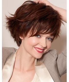 Layered Outstanding Fabulous Short Wavy 100% Real Human Hair Wig 8 Inches