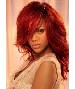 100% Indian Human Hair Attractive Sexy Rihanna Hairstyle Long Wavy Full Lace Wig 18 Inches