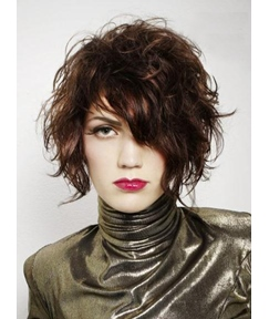 Glossy Flawless Casual Short Wavy Hairstyle 100% Real Human Hair Wig 10 Inches