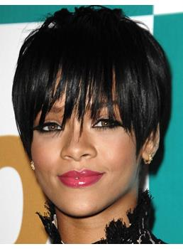 Rihanna Hairstyle Viable Short Straight Capless Wig with Long Fringe 100% Human Hair