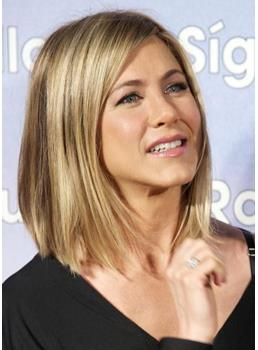 Custom Jennifer Aniston Hairstyle Medium Straight Full Lace Wig 100% Indian Human Hair 12 Inches
