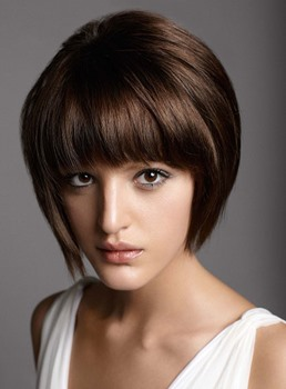 Free Style Cute Short Straight 100% Human Hair Capless Wig