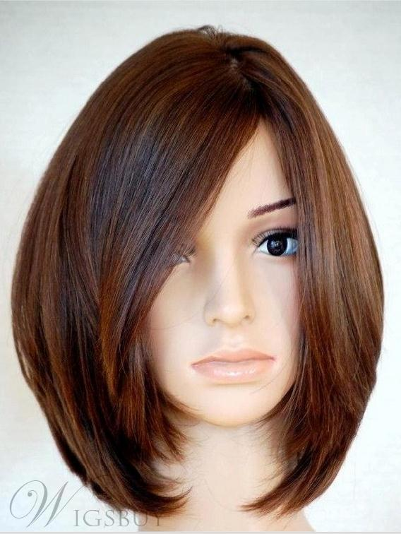 Soft Carefree Natural Medium Straight Bob Hairstyle 100% Human Hair Full Lace Wig 12 Inches