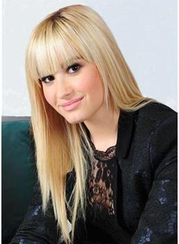 Best Demi Lovato Hairstyle Long Smooth Straight Wig Cute 100% Human Hair 18 Inches