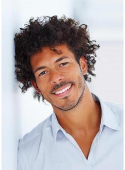 New Fashion Afro American Mens Hairstyle Short Small Curly Full Lace Wig 100% Human Hair