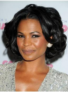 New Elegant Appealing Short Wavy Black Lace Wig 100% Human Hair 10 Inches
