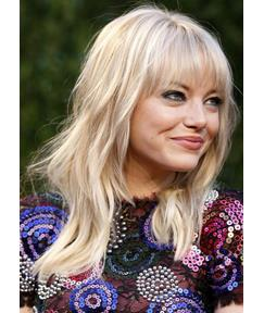 New Arrival 100% Human Hair Emma Stone Long Loose Wavy Blonde Capless Wig 16 Inches with No Tape or Glue