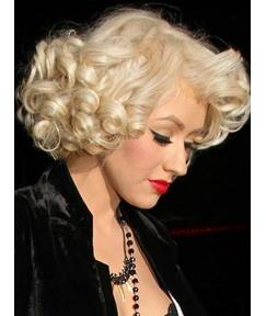 Sexy Classic Marilyn Monroe Inspired Curly Blonde Full Lace Wig 100% Human Hair 12 Inches