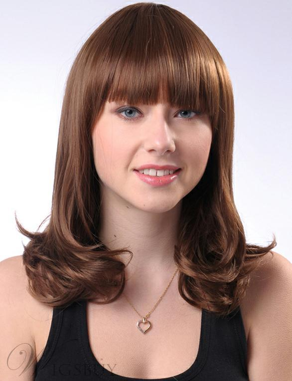 cheap haircuts for attractive fluffy medium wavy synthetic hair wig 3625