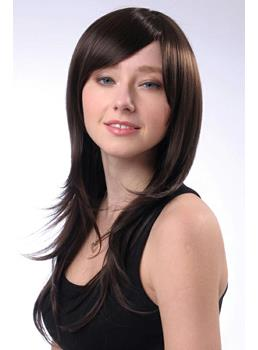 Long Straight Layered Hairstyle Capless Synthetic Hair Wigs 22 Inches
