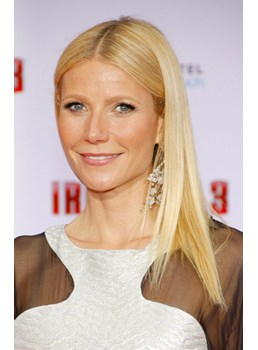 Iron Man 3 Gwyneth Paltrow hairstyle Attractive Glossy Medium Straight Lace Wig 100% Real Human Hair 14 Inches