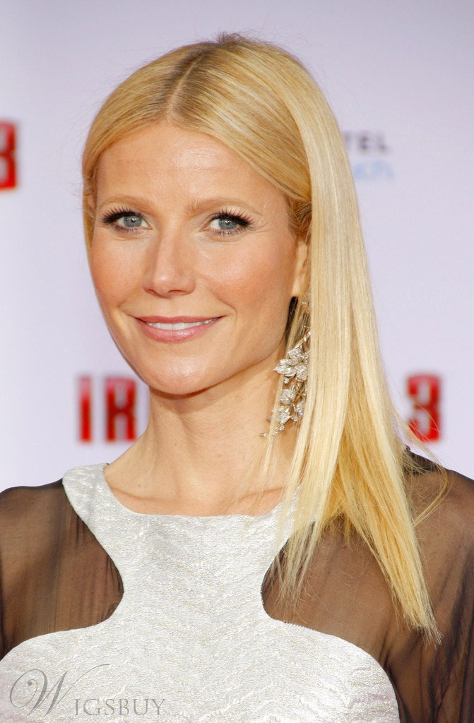 Gwyneth Paltrow Medium Straight Lace Front Wigs Human Hair 14 Inches