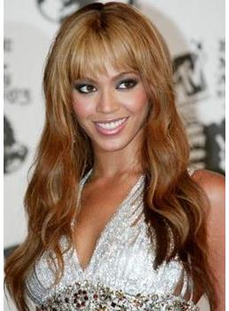 Stylish Cute Beyonce Knowles Hairstyle Long Loose Wavy Wig 100% Human Hair Wig 22 Inches