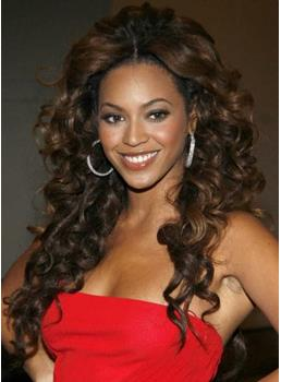 Top Quality Deluxe Beyonce Hairstyle Long Curly Lace Front Wig 100% Human Hair 24 Inches Brown