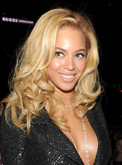 Stylish Charming Beyonce Knowles Hairstyle Long Big Wave Lace Wig 100% Human Hair 18 Inches Blonde 10511306
