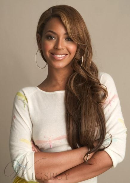 Fabulous Free Style Beyonce Hairstyle Long Wavy Full Lace Wig 100% Human Hair 24 Inches Brown