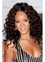 Smooth Elegant Rihanna's Hairstyle Long Curly Lace Wig 100% Real Human Hair 18 Inches