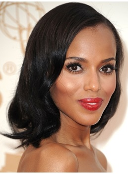 Natural Glamourous Kerry Washington Hairstyle Medium Wavy Lace Wig 100% Real Human Hair 12 Inches