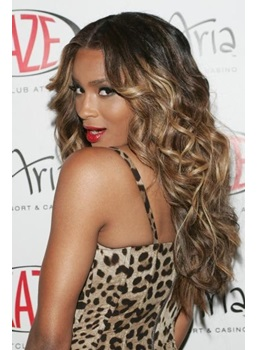 Ombre Luxury Charming Long Curly Lace Wig 100% Real Human Hair 24 Inches