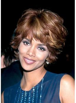 Halle Berry Boutique Fascinating Two-Tone Look Short Wavy 100% Real Human Hair Wig 8 Inches