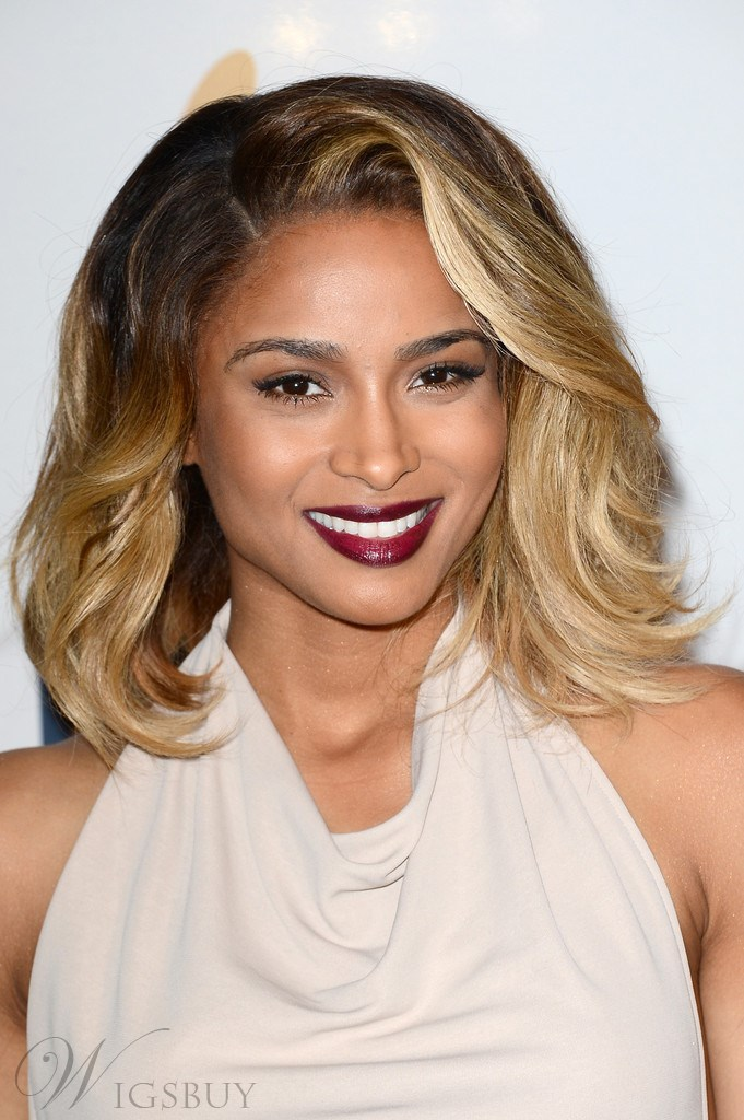 Custom Ciara Ombre Natural Polished Medium Wavy Lace Wig 100% Real Human Hair 12 Inches