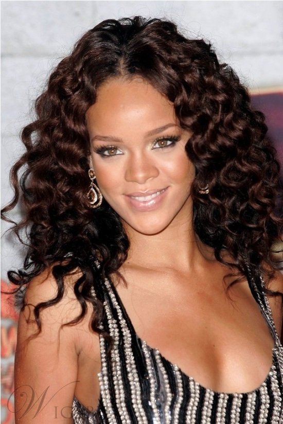 Rihanna Long Curly Lace Front Human Hair Wigs