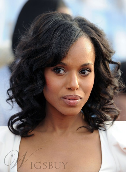 Premier Glamourous Kerry Washington Medium Curly Lace Wig 100% Real Human Hair 14 Inches