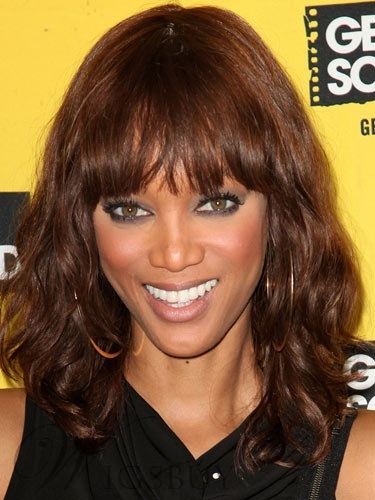 Tyra Banks's Medium Wavy Capless Wig 100% Real Human Hair 14 Inches