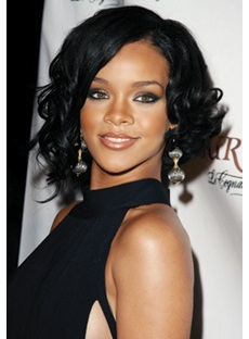 Tailored Hip Rihanna hairstyle Medium Curly Lace Wig 100% Real Human Hair 12 Inches