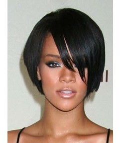 Smooth Exquisite Rihanna's bob Hairstyle Lace Wig 100% Real Human Hair 8 Inches