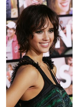 Jessica Alba Sexy Deluxe short wave Lace Wig 100% Real Human Hair Wig 8 Inches
