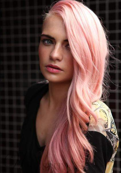 Fashionable Lovely Custom Long Wavy Pink Cheap Synthetic Lace Front Wig 20 Inches