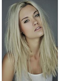 Best America Next Top Model Laura James Messy Hairstyle Long Straight Blonde Lace Front 100% Human Hair Wigs 18 Inches