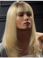 Best Full Lace Wig Long Straight Blonde Wig with Bang 100% Remy Human Hair 16 Inches