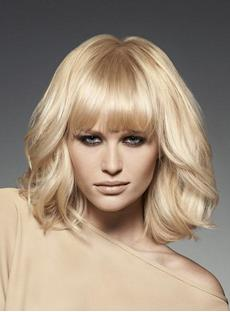 Custom High Quality 100% Remy Human Hair Medium Wavy Blonde Capless Wig 100% Human Hair Wig 12 Inches